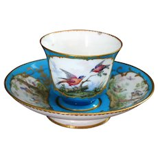 Antique French Sevres Style Tea Cup and Saucer Hand Painted Birds Ca 18th C