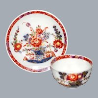 Antique Meissen Tea Cup and Saucer Tischchenmuster Table Kakieomon Ca 1730's