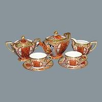 Nippon Tea Pot Tea Cups Saucers Hand Painted Ca 1920'-1930's