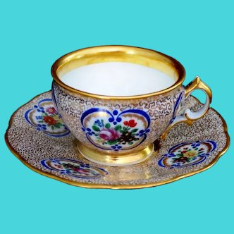 Antique Royal Vienna Tea Cup and Saucer Hand Painted Gold Seaweed Floral Ca 1839-1840