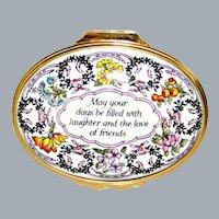 Halcyon Days English Enamel Box Floral with Wish