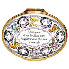 Halcyon Days English Enamel Box Floral with Wish