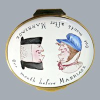English Enamel Box Hand Painted Cartoon One Month Before Marriage Staffordshire