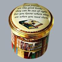 Vintage Halcyon Days Enamels Box Friendship Good Friends are Like Good Books