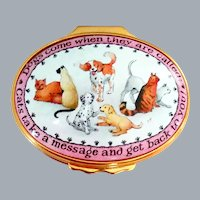 Vintage Halcyon Days Enamel Box Dogs and Cats GUMP'S