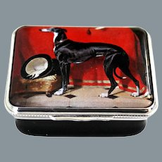 Halcyon Days Enamel Box EOS Greyhound after Sir Edwin Henry Landseer