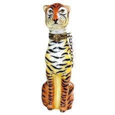 Limoges France Porcelain Tiger Trinket Box 4 ''H Peint Main