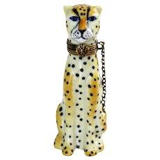 Limoges Peint Main WIld Animal Cheetah Trinket Box Artist Signed