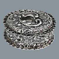 Antique Art Nouveau Repousse Sterling Silver Snuff Box Ca 1901 England Marked