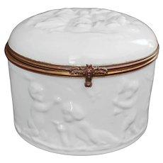 Vintage Limoges Porcelain Box Large France Cherubs Sur Pate Sur Enamel