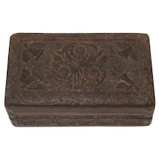 Antique German Pennsylvania Dutch Carved Wooden Box Sliding Key Ca Late 19th C