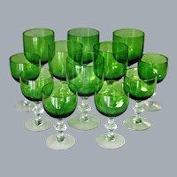 12 Art Deco Crystal Green Water Glasses Wine Glasses