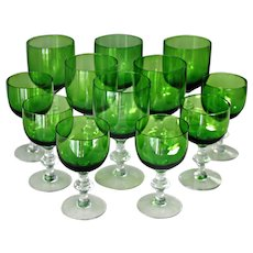 12 Art Deco Crystal Green Water Glasses Wine Glasses