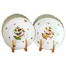 8 Herend Rothschild Bird Dinner Plates 1524 Unused Near Mint