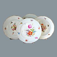 4 Antique Meissen Dinner Plates Hand Painted Ca 1880 10''