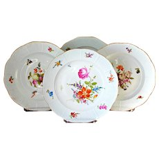 4 Antique Meissen Dinner Plates Hand Painted  10'' Ozier Basket Waive