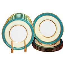12 Antique Minton Dinner Plates Turquoise Gilt Lily of the Valley UNUSED  10''