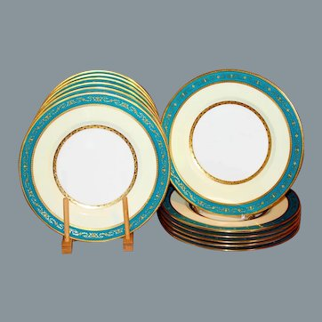12 Antique Minton Dinner Plates Turquoise Gilt Lily of the Valley UNUSED Near Mint 10''