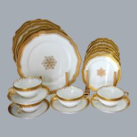 Antique French Limoges Dinnerware for Six Gold Encrusted Dinner Plates  UNUSED Near Mint