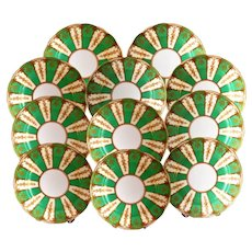 11 English Green and Gold Jeweled Plates 9'' Ca 1920 UNUSED