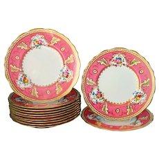 12 English Gold Pink Border Dinner Plates Cauldon Near Mint 10.75'' UNUSED
