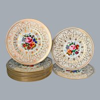 12 English Gold Floral Hand Painted Dinner Plates Wedgwood China 10.75'' UNUSED Ca 1920's