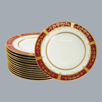 12 Antique Minton Gold Red Dinner Plates Near Mint Unused Urns Flowers Jeweled