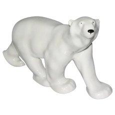 Large White Porcelain Polar Bear Figurine by Imperial Lomonosov Porcelain Factory USSR