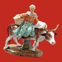 Antique Meissen Porcelain Figurine Farmer's Wife on Cow Kaendler ca. 1759