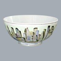 Hong Kong Skyline Hand Painted Large Bowl