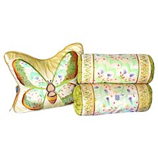 Butterfly Embroidered Silk Pillow and Neck Rolls Neiman Marcus