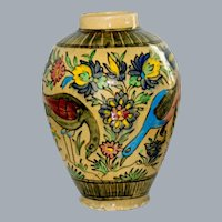 Antique Persian Hand Painted Birds Large Vase 13.5'' Ca 1800's