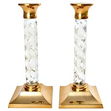 Waterford Crystal Candlesticks Candle Holders Pair 11'' Near Mint