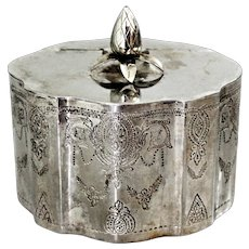 Antique Victorian Silver Plated Table Box Tea Caddy Biscuit Box with Medallions