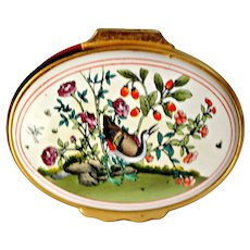 Vintage Halcyon Days Enamel Box Hand Painted Bird To Wish You Happiness