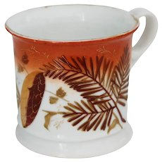 Antique Shaving Mug with Hand Painted with Pine Branch with Cone