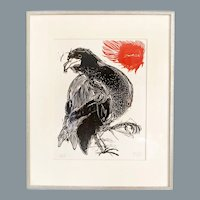 Japanese Drawing Sun and Eagle Signed Dated 1969