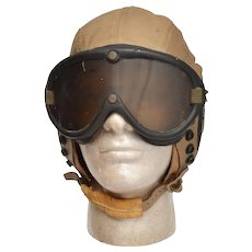 US Army Air Force AN-H-15 Bradley-Goodrich Flight Helmet Polaroid 1944 Goggles L