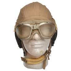 WWII US Army Air Force A-10A Khaki Summer Flight Helmet AN 6530 Goggles L
