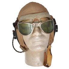 WWII USN Navy Khaki Summer Flight Helmet AN 6530 Goggles ANB-H1 Receivers S