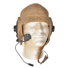 WWII USN Navy Khaki Summer Flight Pilot Helmet ANB-H-1A Receivers M