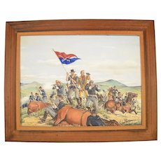 Custer's Last Stand Battle of Little Bighorn painting oil on canvas 40x30 framed