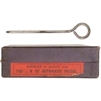 1930s Webley & Scott Ltd 7.65mm 32 automatic pistol purple factory box + cleaning rod