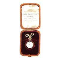 Antique Patek Philippe Pendant Watch 18K Gold 15 Jewel 15J Paperwork & Case 1904 Swiss Made Switzerland