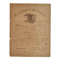 Civil War Discharge Paper Illinois Infantry Bloome