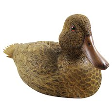 Vintage duck decoy sculpture wooden signed Chuck Buzick Illinois 1983 realistic