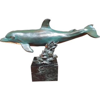Bronze Sculpture of Mother Porpoise and Baby