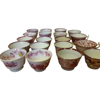 English Pink Lusterware Collection Of Tea Bowls & Cups