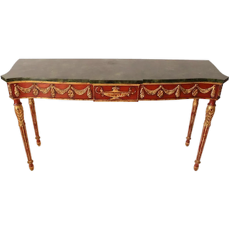 John Widdicomb Italian Regency Adam Style Sofa Table Faux Marble Top