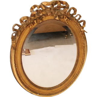 Antique Gold Rococo Style Oval Mirror Hand Adzed Wood